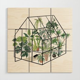 greenhouse with plants Wood Wall Art