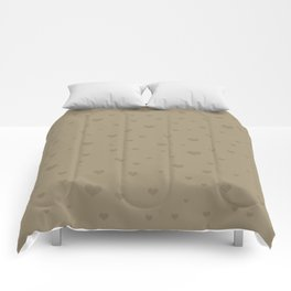 Numerous brown hearts on a beige background Comforters