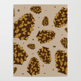 pine cones. abstract pattern of pine cones and nuts Poster
