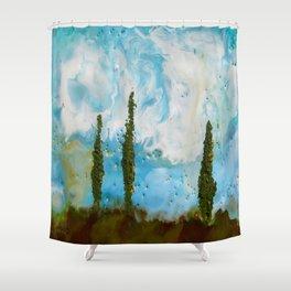 Tuscan Sunset original Encaustic wax painting by Seasons Kaz Sparks Shower Curtain