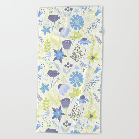 Blue and Purple Wildflowers Beach Towel