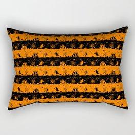 Dark Pumpkin Orange and Black Halloween Nightmare Stripes Rectangular Pillow