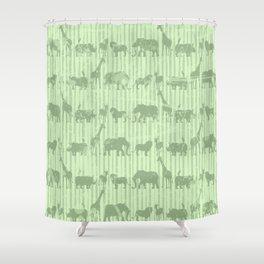Distressed Jungle Theme Animal Safari Green Elephants Lions Giraffes Rhinos on Stripes Shower Curtain