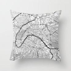 Paris Map Gray Throw Pillow