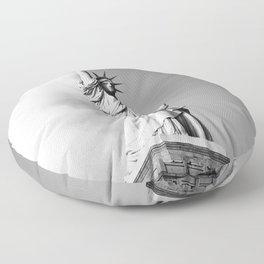 statue of liberty 4 black white Floor Pillow