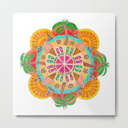 Summer Mandala on white Metal Print