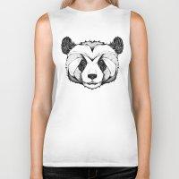 panda Biker Tanks featuring Panda by Andreas Preis