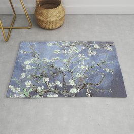 Vincent Van Gogh Almond Blossoms : Steel Blue & Gray Rug