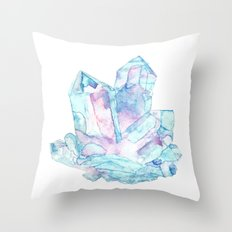 Pink Blue Crystal Cluster Throw Pillow