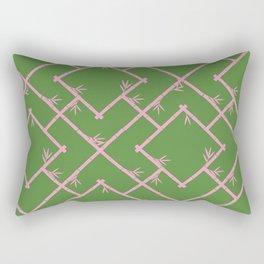Bamboo Chinoiserie Lattice in Green + Pink Rectangular Pillow