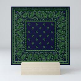 Navy Blue and Green Bandana Mini Art Print