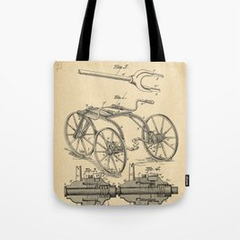 1880 Patent Velocipede Bicycle history innovation Tote Bag