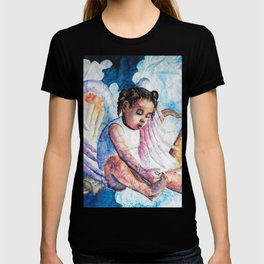 Watercolor Harp Angel on Wrinkled Paper T-shirt