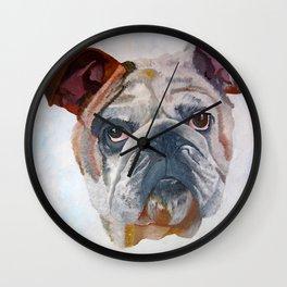 American Bulldog Portrait: Yale Mascot Wall Clock