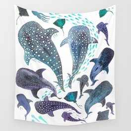 Whale Shark, Ray & Sea Creature Play Print Wall Tapestry