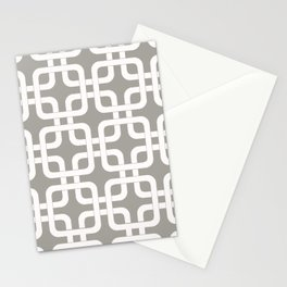 Mid-Century Modern Geometric Pattern, rounded corner squares interlocking Stationery Cards