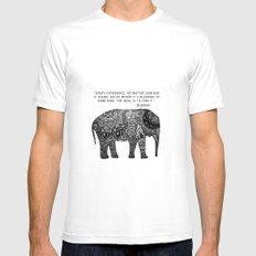 Buddha Quote with Henna Elephant White Mens Fitted Tee MEDIUM