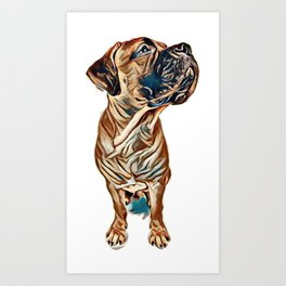 red puppy bullmastiff sitting on a white background, isolated. dog 7 months old. photo with perspect Art Print