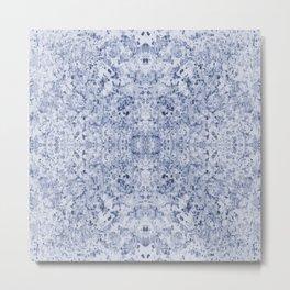 Blue watercolour kaleidoscope pattern Metal Print