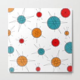 Atomic Age Colorful Planets Metal Print