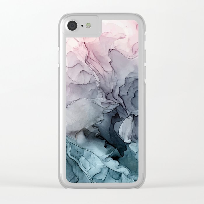 Blush and Paynes Gray Flowing Abstract Reflect Clear iPhone Case