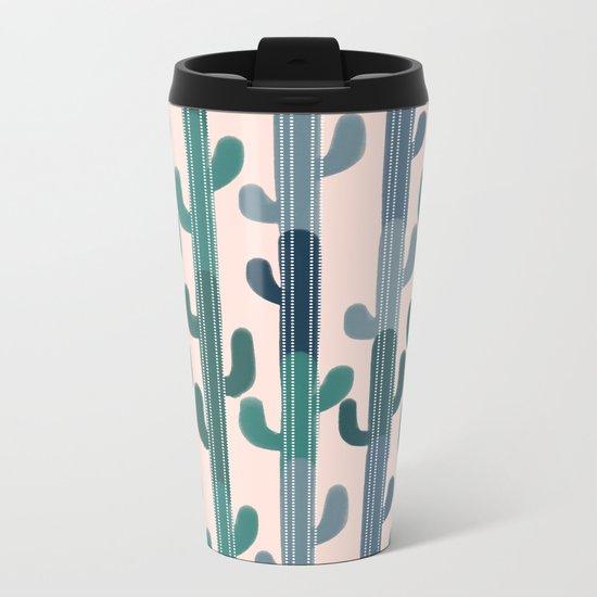 Cactus Lines Metal Travel Mug
