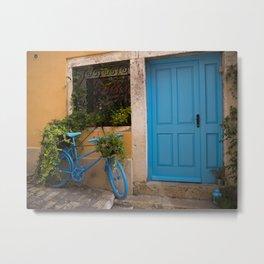 Blue Bicycle and Door in Rovinj Metal Print