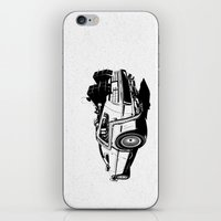 delorean iPhone & iPod Skins featuring DeLorean / BW by CranioDsgn