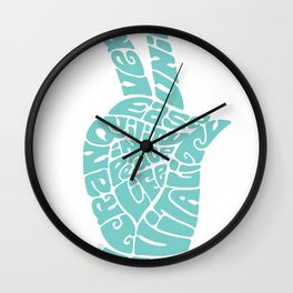 Life Force Hand in Soft Seafoam Teal Wall Clock