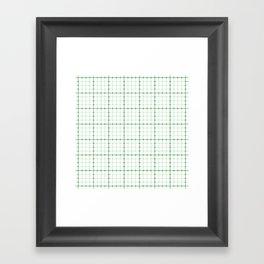 Dotted Grid Weave Green Framed Art Print