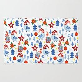 Modern red blue white christmas trees birds stars pattern Rug