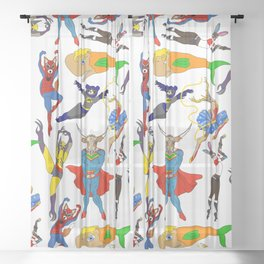 Superhero Animals Sheer Curtain