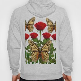RED ROSES  & MONARCH BUTTERFLIES ART Hoody