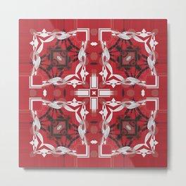 Red Tile Detailed Square Pattern Metal Print