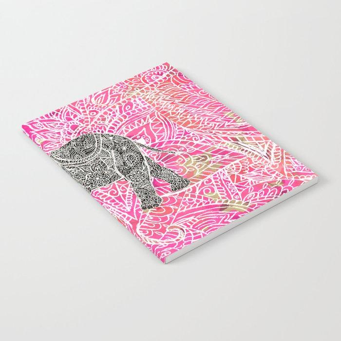 Pink Safari Tribal Paisley Elephant Henna Pattern Notebook By