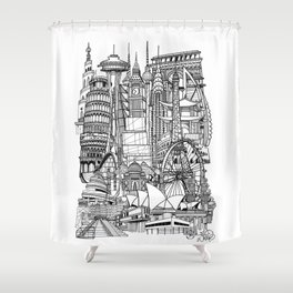 the world / black and white Shower Curtain