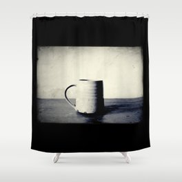 Cup of coffee on a table Shower Curtain