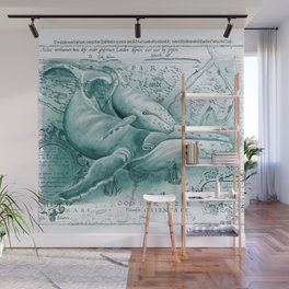 Humpback Whales Teal Vintage Map Wall Mural