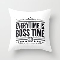 springsteen Throw Pillows featuring Every time is Boss time (Springsteen tribute) by My Brave Face