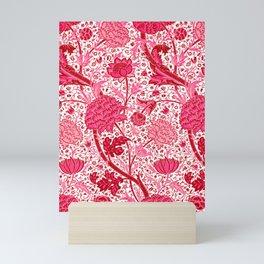 William Morris Jacobean Floral, Coral Pink and Fuchsia Mini Art Print