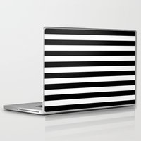 stripes Laptop & iPad Skins featuring Horizontal Stripes (Black/White) by 10813 Apparel