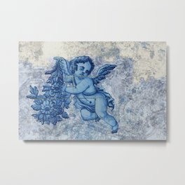 Antique Angel with flowers Metal Print