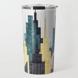 Colorful City Buildings And Skyscrapers Sketch, New York Skyline, Wall Art Poster Decor, New York Travel Mug