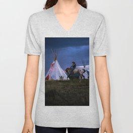 Cowboy on Horse With Teepee Unisex V-Neck
