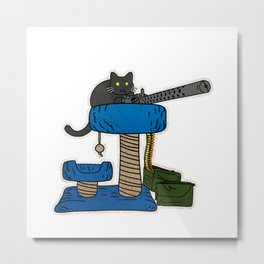 Cat Tower Defense Metal Print