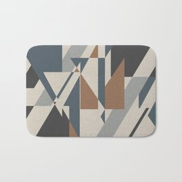 Teepee in Cinnamon Spice, Ivory, Charcoal Grey and Blue Bath Mat