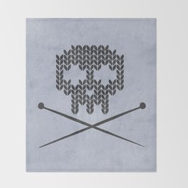 Knitted Skull (Black on Faded Periwinkle) Throw Blanket