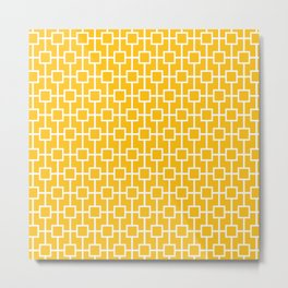 Amber Yellow Lattice Pattern Metal Print