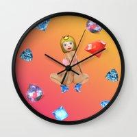 emoji Wall Clocks featuring Anaconda Emoji by jajoão