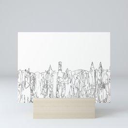 Aberdeen, Scotland Skyline B&W - Thin Line Mini Art Print